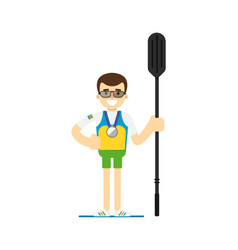 Smiling athlete rower with oar vector