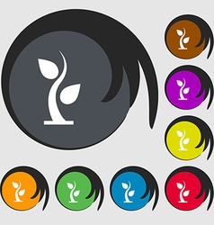 Sprout icon sign symbols on eight colored buttons vector