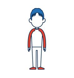 Standing man avatar people blue and orange cartoon vector