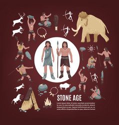 Stone age people icons set vector