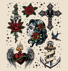 Tattoo Flash Set vector image vector image