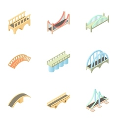 Types of bridges icons set cartoon style vector