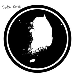 White map of south korea on black vector