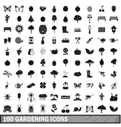 100 gardening icons set in simple style vector