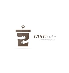 Coffee cup and hands logo combination cafe vector