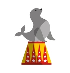 Seal circus entertainment icon vector