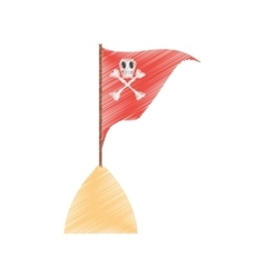 Drawing red pirate flag with skull bone sand sea vector