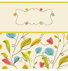 Vintage frame on floral background vector image