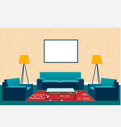 Living room interior design in flat style vector