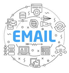 Line flat circle email vector