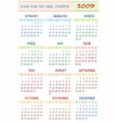 2009 colorful calendar vector image vector image