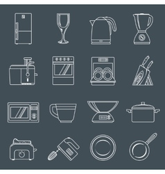 Kitchen appliances icons outline vector
