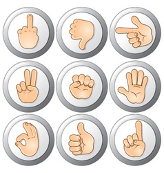 buttons with hands vector image