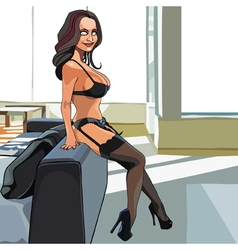 Cartoon sexy woman in lingerie and stockings vector