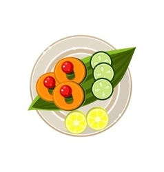 Island food on a palm tree leaf served food vector