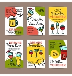 Set of discount coupons for beverages vector