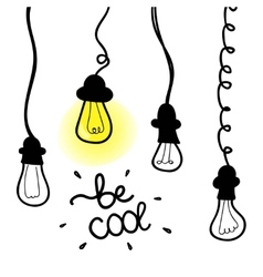 Lightbulb icon with concept of idea doodle vector
