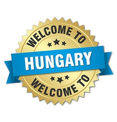 Hungary 3d gold badge with blue ribbon vector