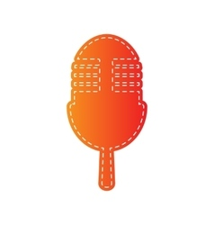 Retro microphone sign orange applique isolated vector