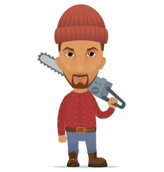 Lumberer with a chain saw vector