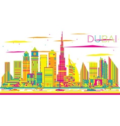 Abstract Dubai Skyline with Color Buildings vector image vector image
