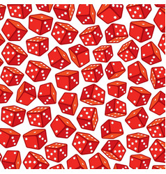 background pattern with red dices vector image
