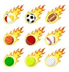 Ball label flame sticker set flat style vector image