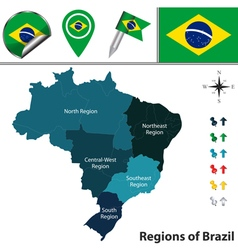 Brazil map with named regions vector