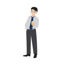 Businessman holding champagne glass vector image vector image