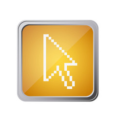 button with pixelated arrow cursor with background vector image vector image