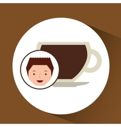 Cartoon guy with cup coffee hot design icon vector
