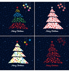 christmas tree background set vector image vector image