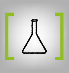 Conical flask sign black scribble icon in vector