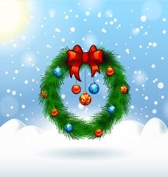 Decorated christmas wreath christmas card vector