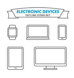Electronic devices outline icons set vector image vector image
