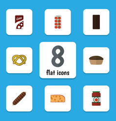 flat icon food set of tart tomato cookie and vector image