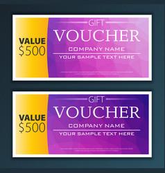 Gift voucher template with modern flat pattern vector