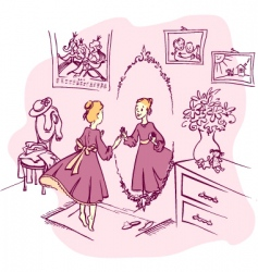 girl with a mirror vector image vector image