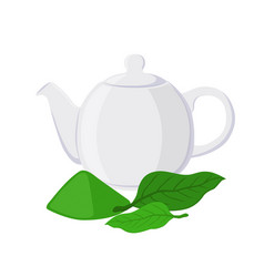 Green tea - asian drink teapot matcha tea leaf vector