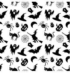 halloween seamless pattern on a white background vector image vector image