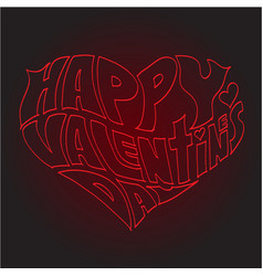heart made of text happy valentines day vector image