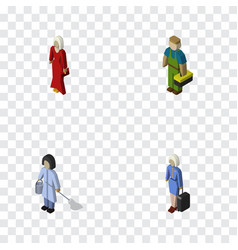 Isometric person set of plumber female housemaid vector