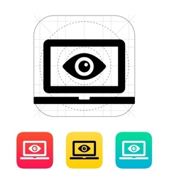 Laptop monitoring icon vector image vector image