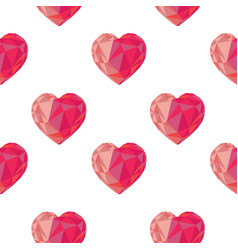 low poly crystal bright pink hearts seamless vector image
