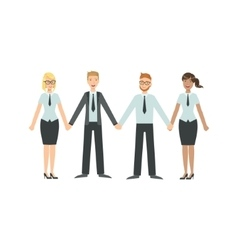 Managers holding hands teamwork vector