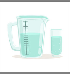 Measuring cup and glass kitchenware vector