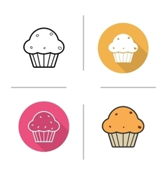 Muffin with raisins icons vector
