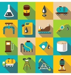 Oil industry icons set flat style vector