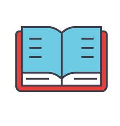 Open book study library concept line vector