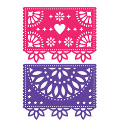 Papel picado template design set mexican vector